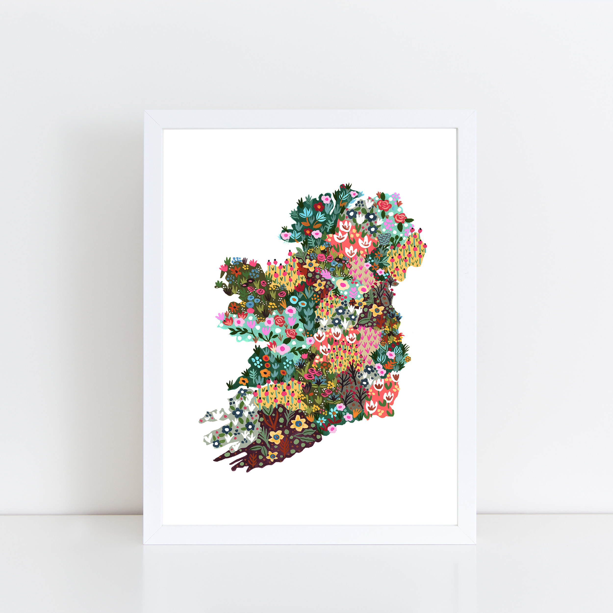 Map Of Ireland Print.Ireland Wildflowers Print
